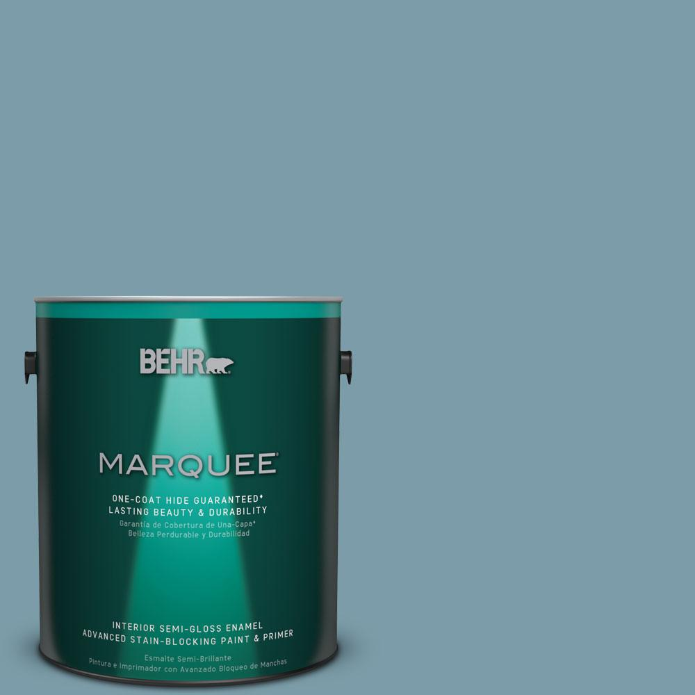 1 gal. #S470-4 Dolphin Blue Semi-Gloss Enamel One-Coat Hide Interior Paint