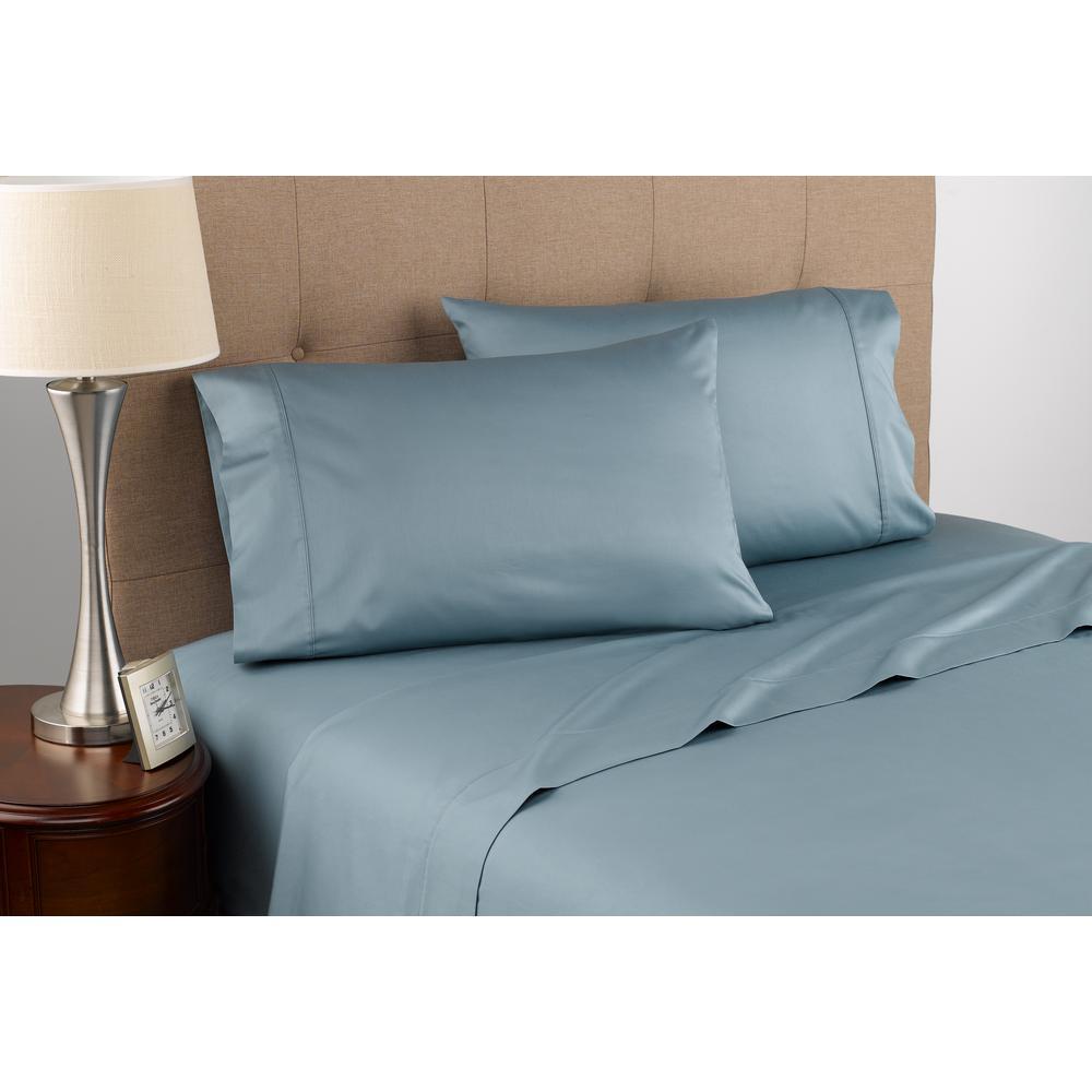 300 Thread Count Certified Organic Blue Mist Cotton Twin Sheet Set