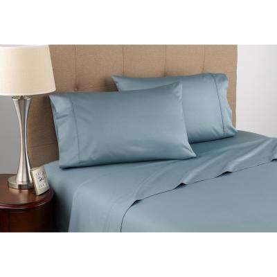 300 Thread Count Certified Organic Blue Mist Cotton King Sheet Set