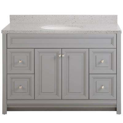 Brinkhill 49 in. W x 22 in. D Bath Vanity in Sterling Gray with Solid Surface Vanity Top in Silver Ash with White Sink