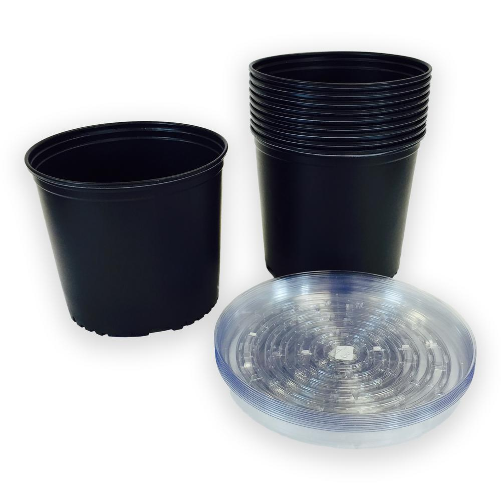 Plastic Nursery Pots With Saucers 11 36 L 10 Pack