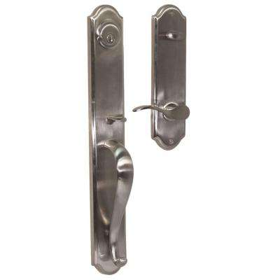 Elegance Single Cylinder Satin Nickel Right-Hand Philbrook Interconnect Handleset with Bordeau Lever
