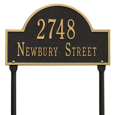 Arch Marker Standard Black/Gold Lawn 2-Line Address Plaque