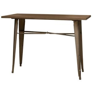 Loft Style Single piece Rustic Gunmetal Pub Table with Wood Top