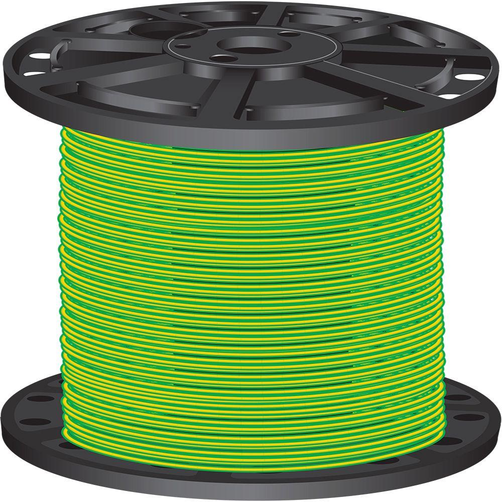Southwire 2,500 ft. 10 Green/Yellow Stranded CU THHN Wire-66311203 ...