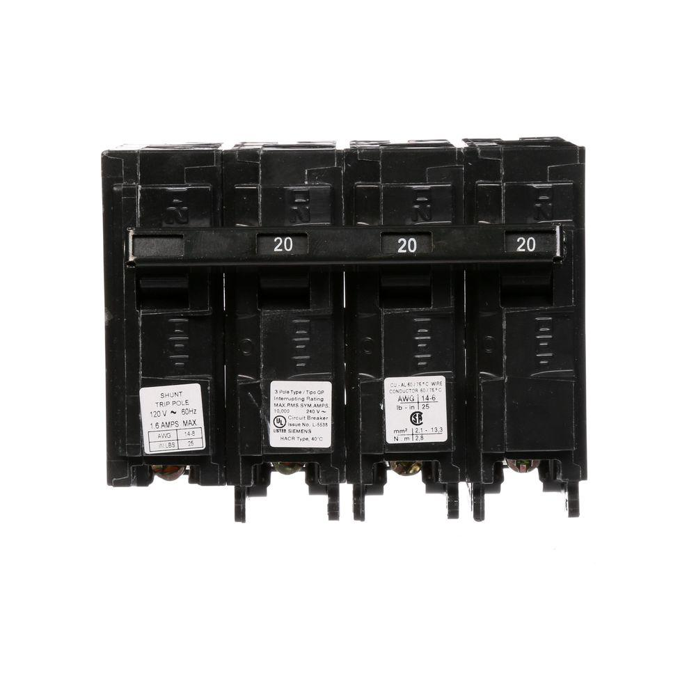 Siemens 20 Amp Three Pole Type Qp Circuit Breaker With 120 Volt