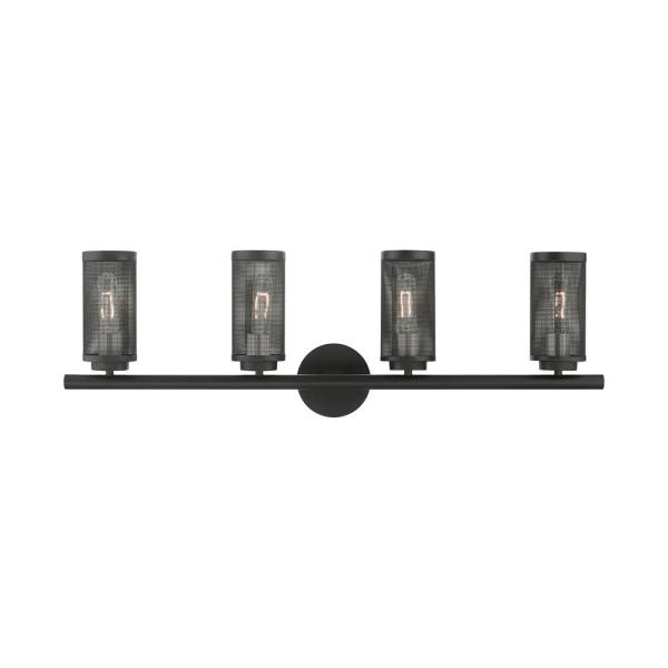 Industro 5.125 in. 4-Light Black Vanity Light with Stainless Steel Mesh Shades