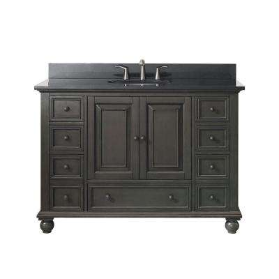 Thompson 49 in. W x 22 in. D x 35 in. H Vanity in Charcoal Glaze with Granite Vanity Top in Black with White Basin