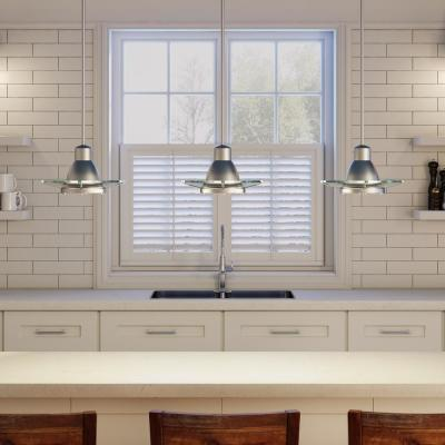1-Light Brushed Nickel Mini Pendant with Clear Glass