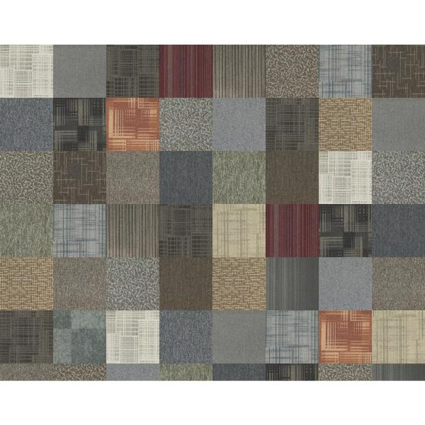 Kaleidoscope Collection Multicolor Assorted Loop Commercial 24 in. x 24 in. Carpet Tile (12-Tiles / Case)