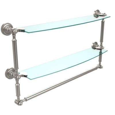 Dottingham 24 in. L  x 15 in. H  x 5 in. W 2-Tier Clear Glass Bathroom Shelf with Towel Bar in Satin Nickel