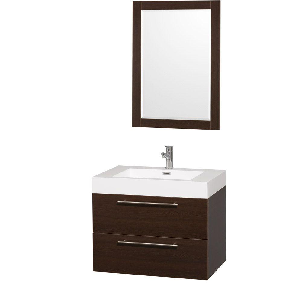 Wyndham Collection Amare 30 In. Vanity In Grey Oak With Acrylic Resin Vanity  Top In White And Integrated Sink WCR410030GOAR   The Home Depot