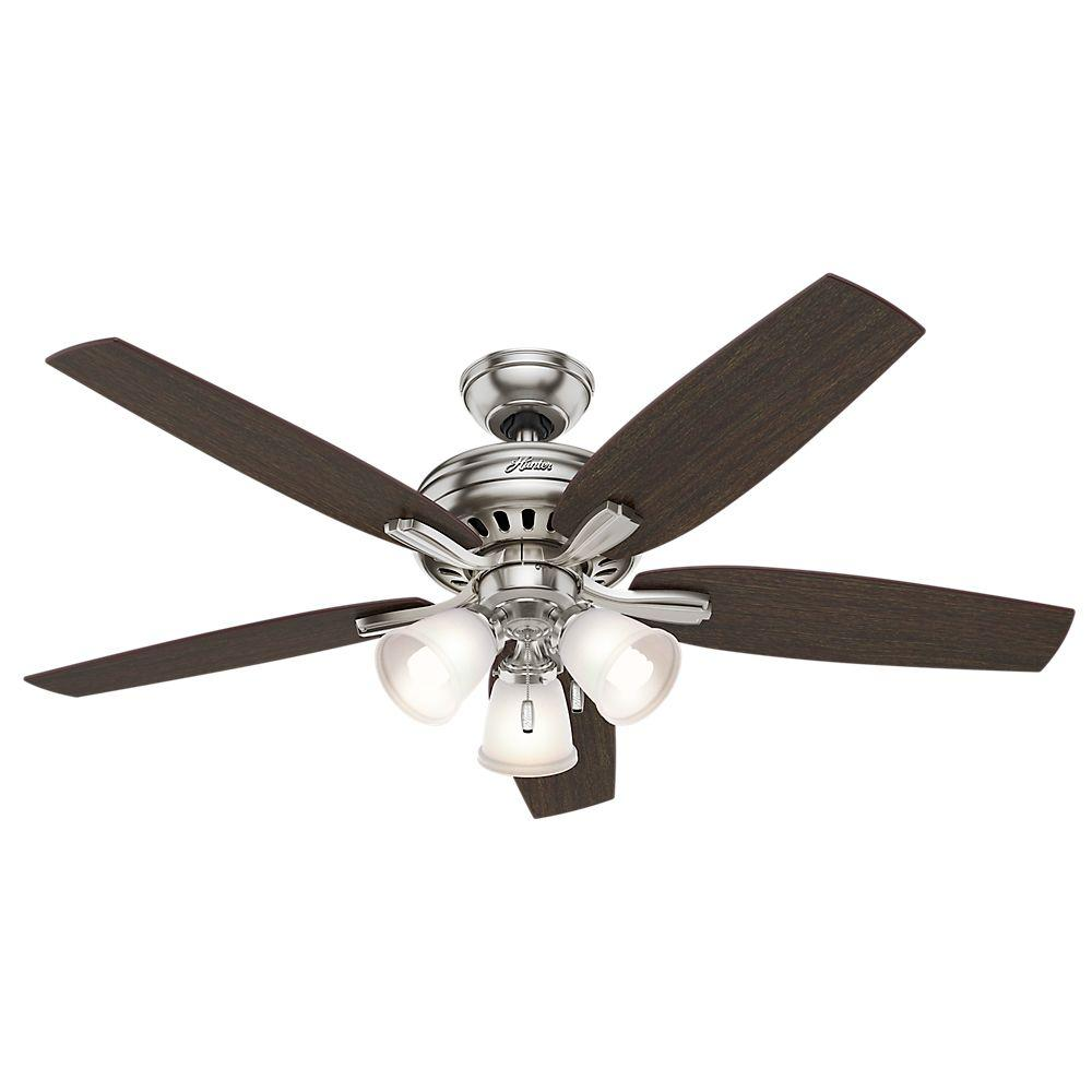 Home Depot Fan Lights: Hunter Newsome 52 In. Indoor Brushed Nickel Ceiling Fan