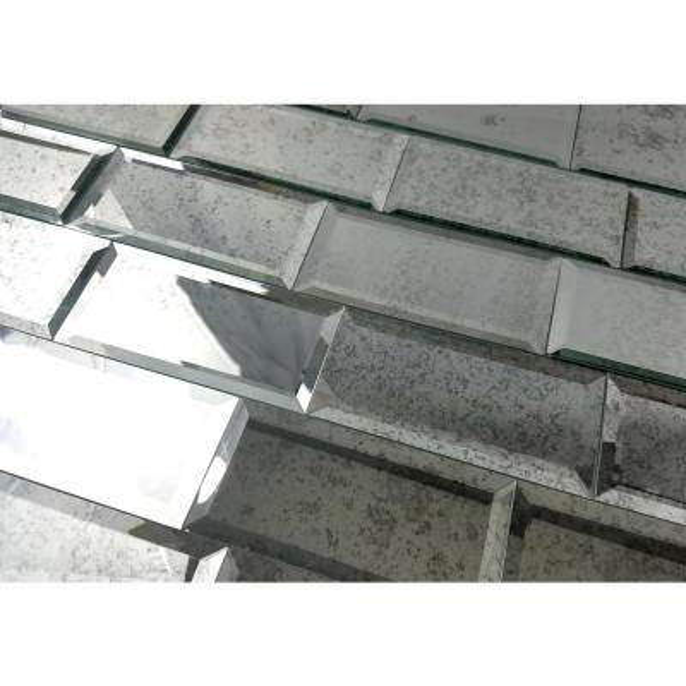 "Subway 3"" x 6"" Antique Silver Gray Beveled Glass Mirror Peel & Stick Decorative Bathroom Wall Tile Backsplash (8 Pc/Pk)"