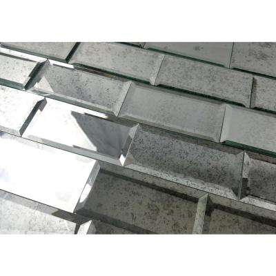 "Subway 3"" x 6"" Antique Silver Gray Beveled Glass Mirror Peel & Stick Decorative Bathroom Wall Tile Backsplash (8 Pc/Pk)"