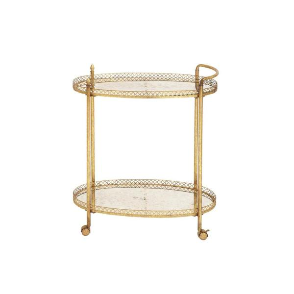 Litton Lane 2-Tiered Iron and Glass Oval Wheeled Bar Cart in