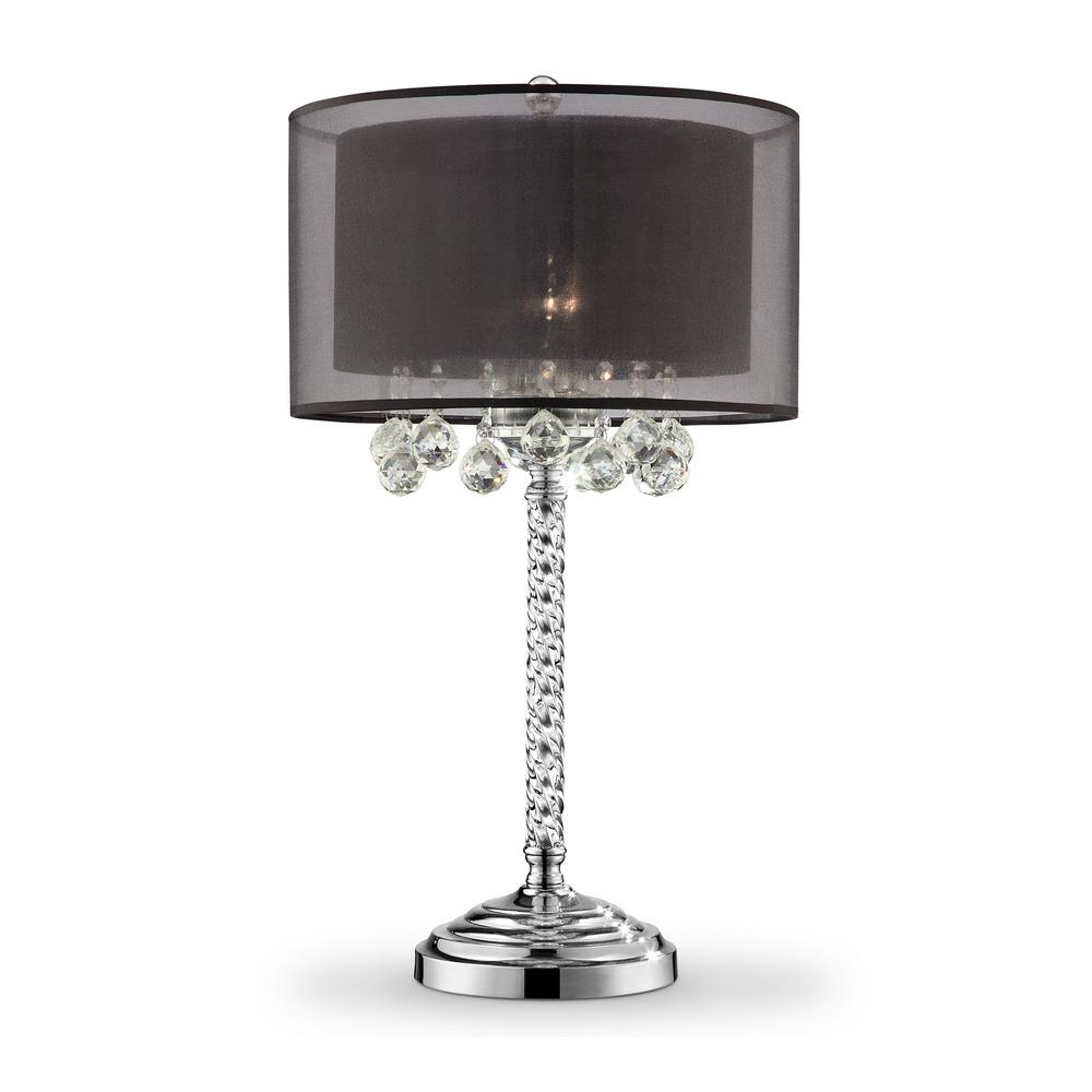 30 In Effleurer Crystal With Black Shade Table Lamp K 5150t The