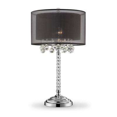 30 In Effleurer Crystal With Black Shade Table Lamp