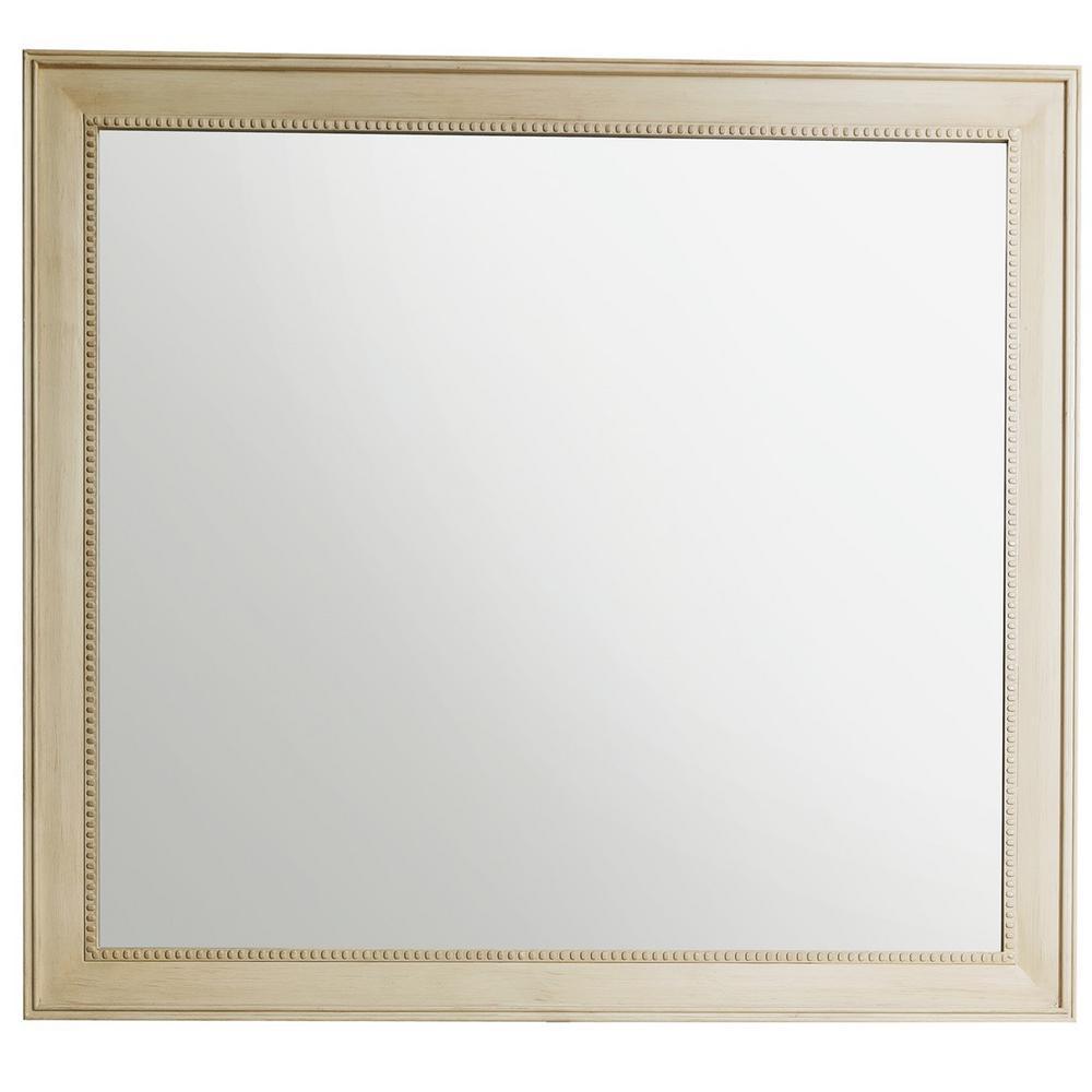 Bristol 44 in. W x 40 in. H Single Framed Wall Mirror in Vintage Vanilla