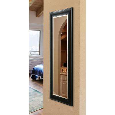 22 in. x 61 in. Vanity Grand Black and Aged Silve Non Beveled Slender Body Mirror