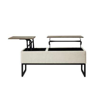 Skye Beige Functional Coffee Table with Storage and Upholstered Side