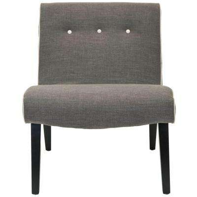Mandell Charcoal Brown Linen Blend Accent Chair