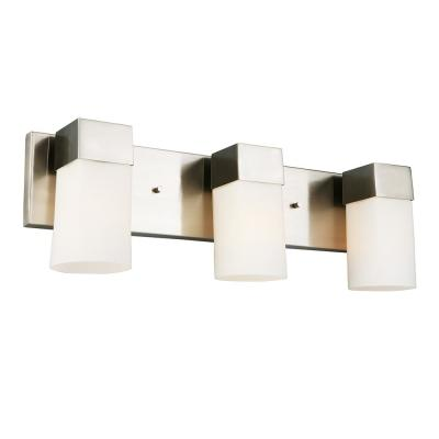 Ciara Springs 22 in. 3-Light Brushed Nickel Vanity Bath Light with Frosted Glass Shades