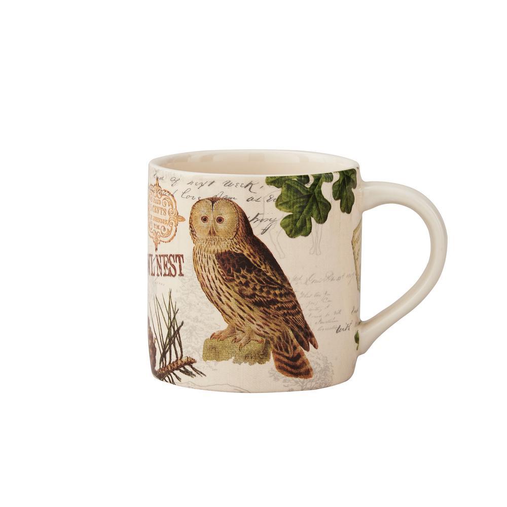 Wildlife Trail 20 oz. Tan Ceramic Owl Coffee Mug (Set of 4)