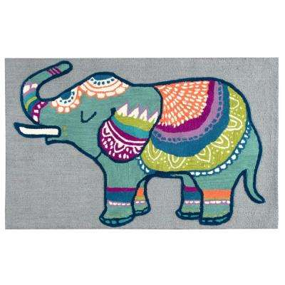 Play Day  Gray/Multicolor 3 ft. x 5 ft. Rectangle Area Rug