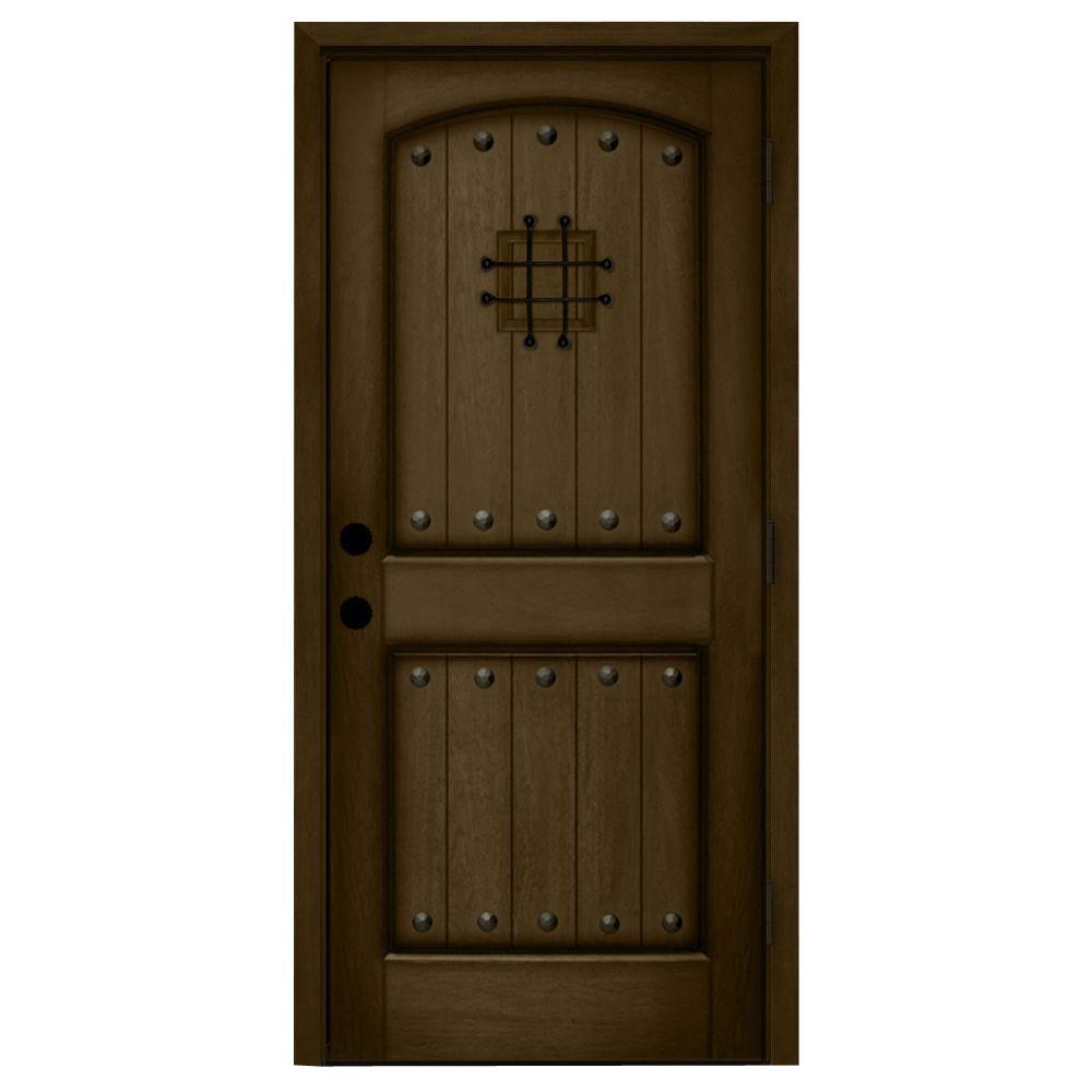 Main Door 36 in. x 80 in. Rustic Mahogany Type Left-Hand Inswing Stained Distressed Speakeasy Solid Wood Prehung Front Door-SH-904-PH-LH - The Home Depot  sc 1 st  The Home Depot & Main Door 36 in. x 80 in. Rustic Mahogany Type Left-Hand Inswing ...