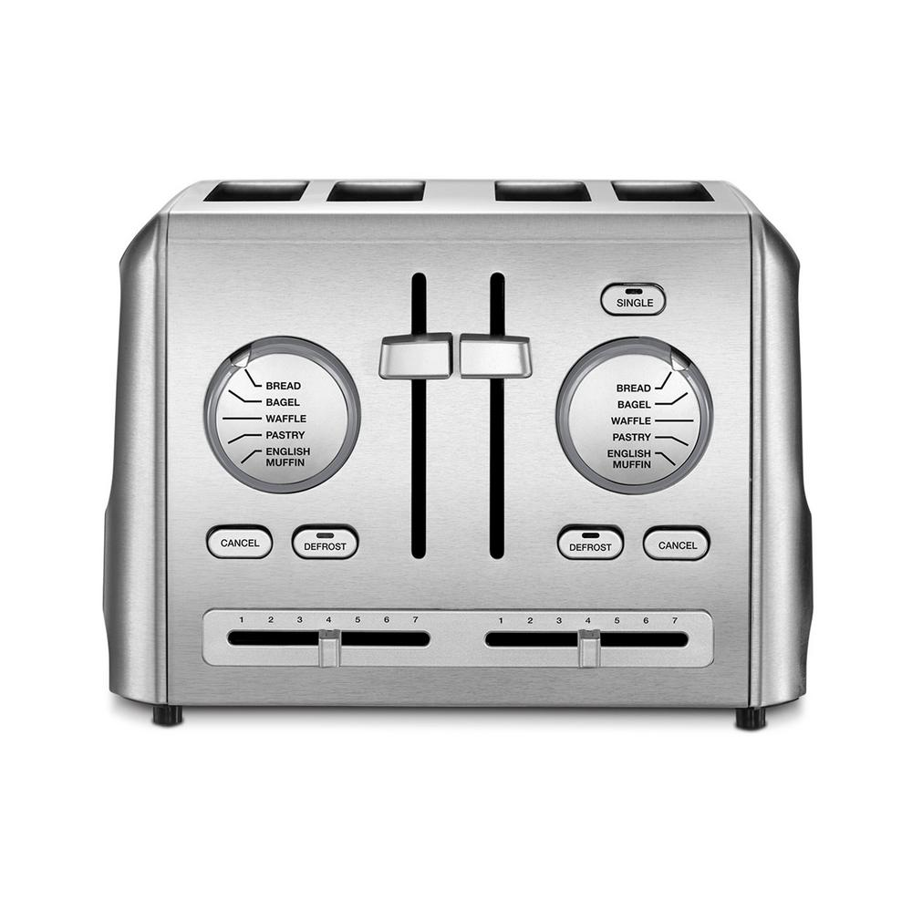 4-Slice Stainless Steel Custom Select Toaster Function and fashion come together to deliver the best in style and performance. These sleek, stainless steel Cuisinart toasters are designed to accommodate all types of bread selections and shade preferences. High-lift carriages, generous slots and precision settings, make these the toasters everyone will want to trade up to!
