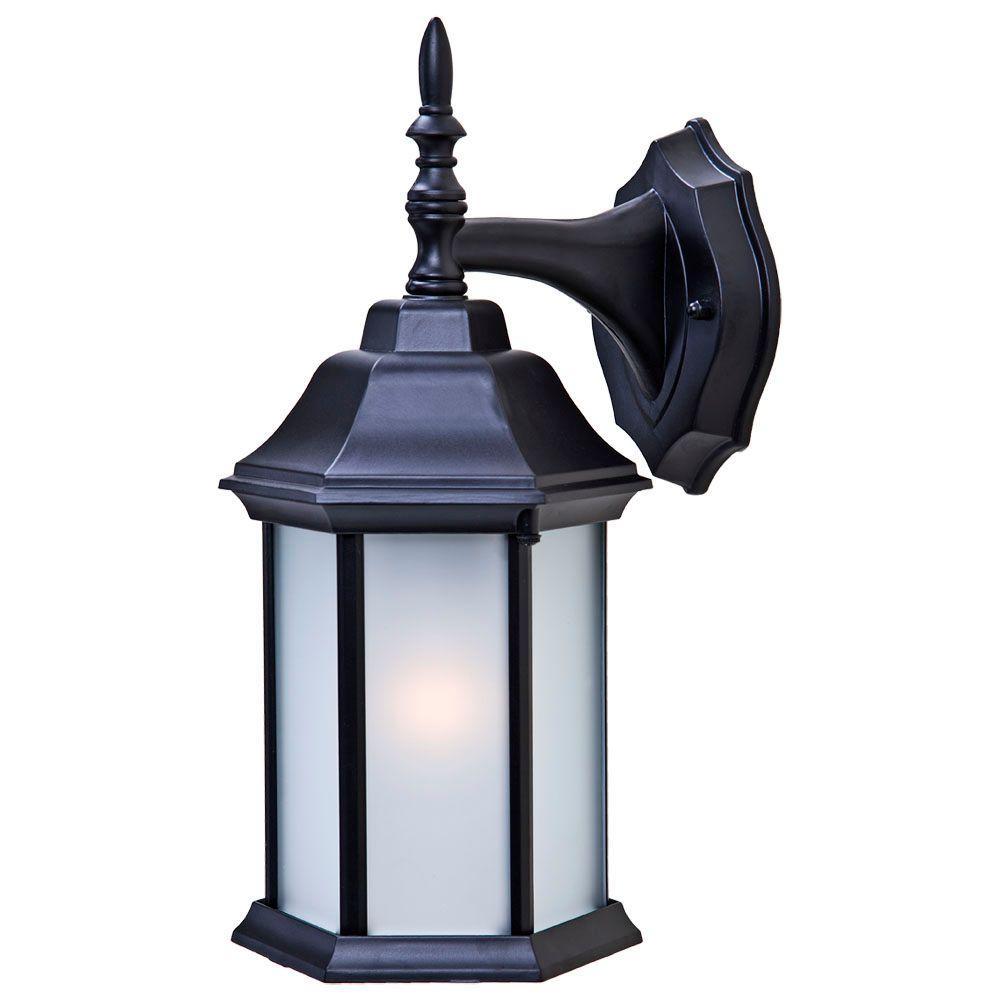 Craftsman 2 Collection 1-Light Matte Black Outdoor Wall Lantern Sconce