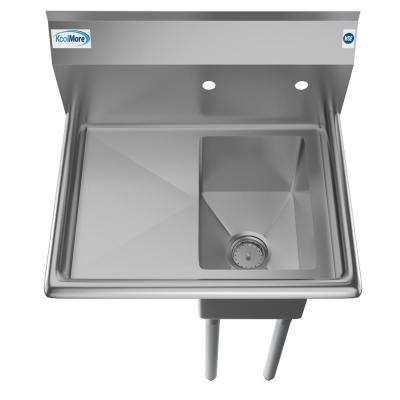 Freestanding Stainless Steel 25 in. 2-Hole Single Bowl Commercial Kitchen Sink