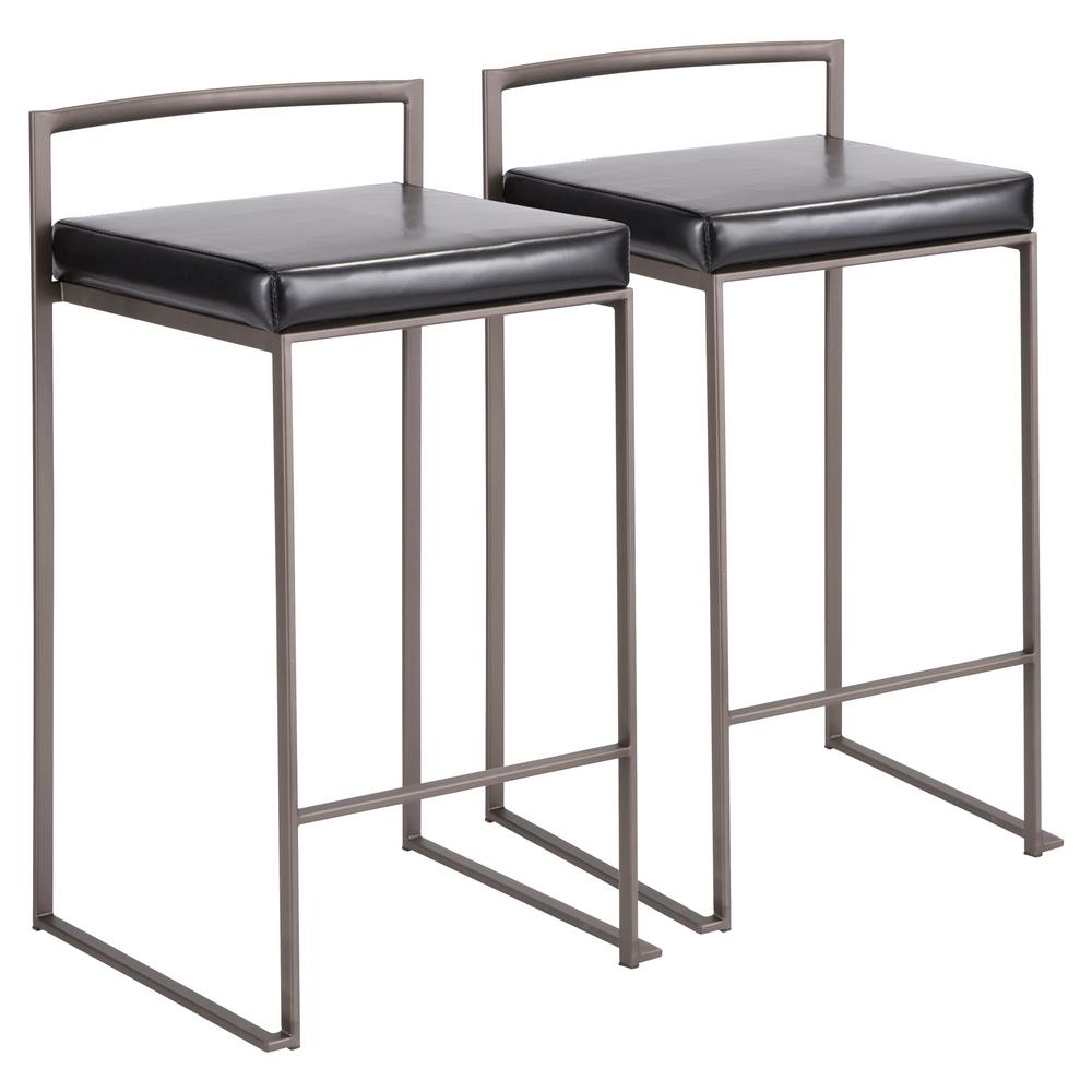 Fuji 26 in. Antique Stackable Counter Stool with Black Faux Leather