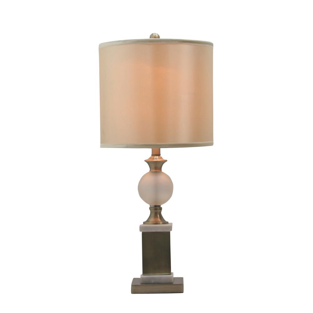 Fangio Lighting S 30 In Regency Frosted Gl Urn Table Lamp Antique Br And White Marble