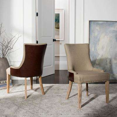 Becca Antique Gold and Brown Linen Bicast Leather Dining Chair