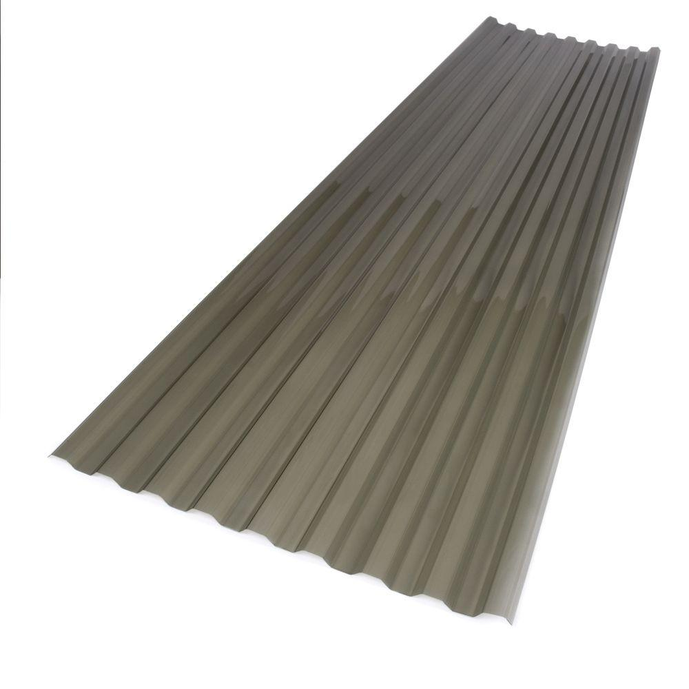 Suntuf 26 in. x 12 ft. Polycarbonate Corrugated Roof Panel in Solar Grey