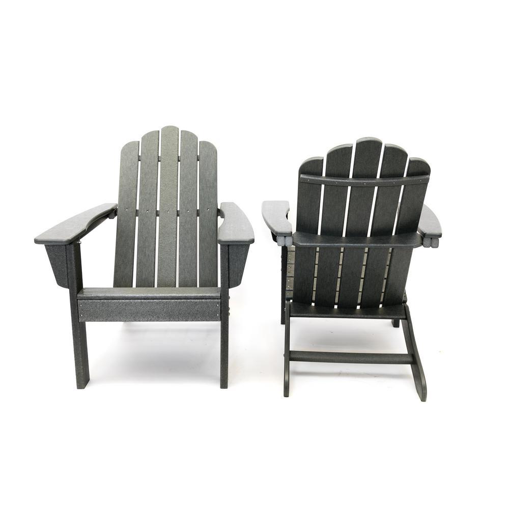 Marina Gray Poly Plastic Outdoor Patio Adirondack Chair (2-Pack)