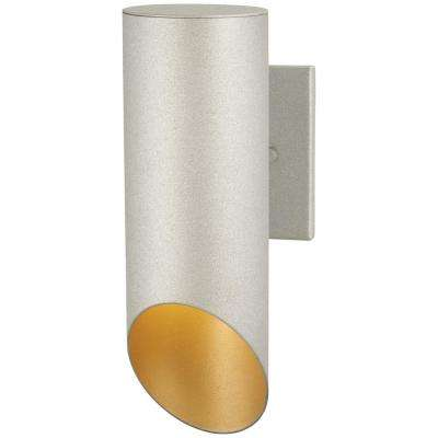 Pineview Slope Collection 1-Light Sand Silver with Gold Outdoor Wall Lantern Sconce
