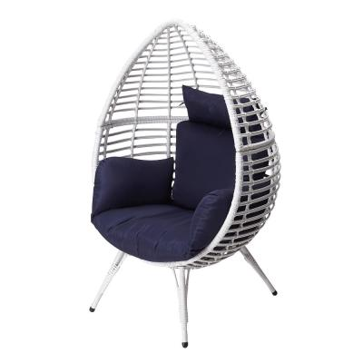Wicker Egg Steel Outdoor Patio Lounge Chair with Blue Cushions