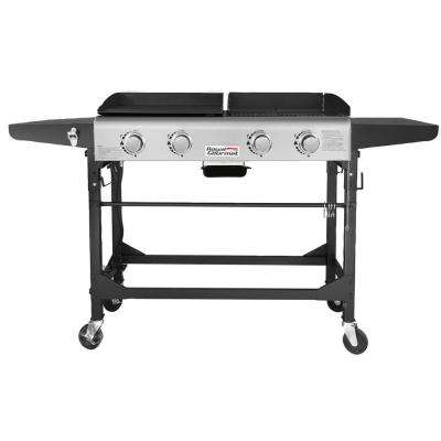4-Burners Portable Propane Gas Grill and Griddle Combo Grills in Black with Side Tables