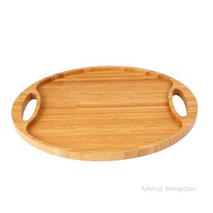 Mind Reader Brown Bamboo Round Serving Tray with Handles by Mind Reader