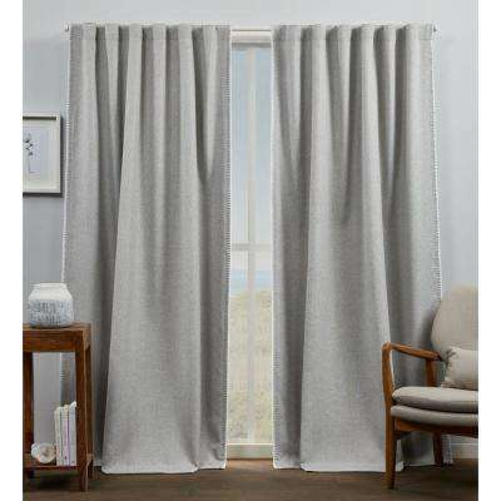 Marabel Grey/White Blackout Hidden Tab Top Curtain Panel 54 in. W x 84 in. L (2 Panels)