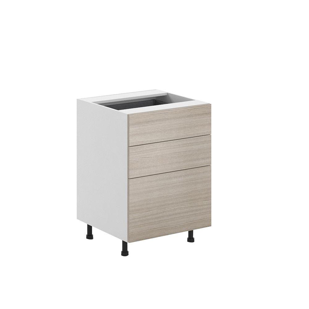 Ready to Assemble 24x34.5x24.5 in. Geneva 3-Drawer Base Cabinet in White