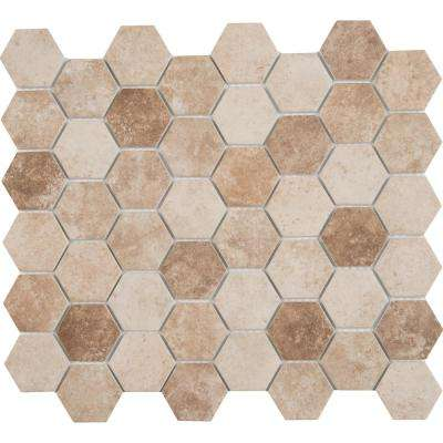 Sandhills Hexagon 12 in. x 12 in. x 6mm Glass Mesh-Mounted Mosaic Tile (14.7 sq. ft. / case)