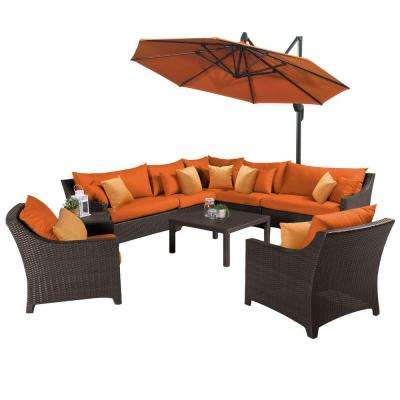 Deco 9-Piece All-Weather Wicker Patio Sectional Set with 10 ft. Umbrella and Sunbrella Tikka Orange Cushions