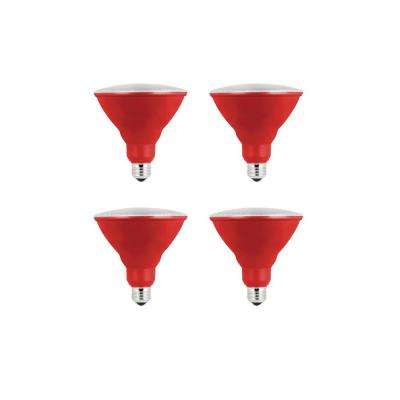 90-Watt Equivalent PAR38 LED Weatherproof Red Color Light Bulb (4-Pack)