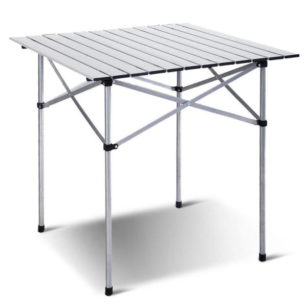 White Aluminum 28 in. H Outdoor Bistro Table Roll Up Portable folding Camping Picnic Table with Extension