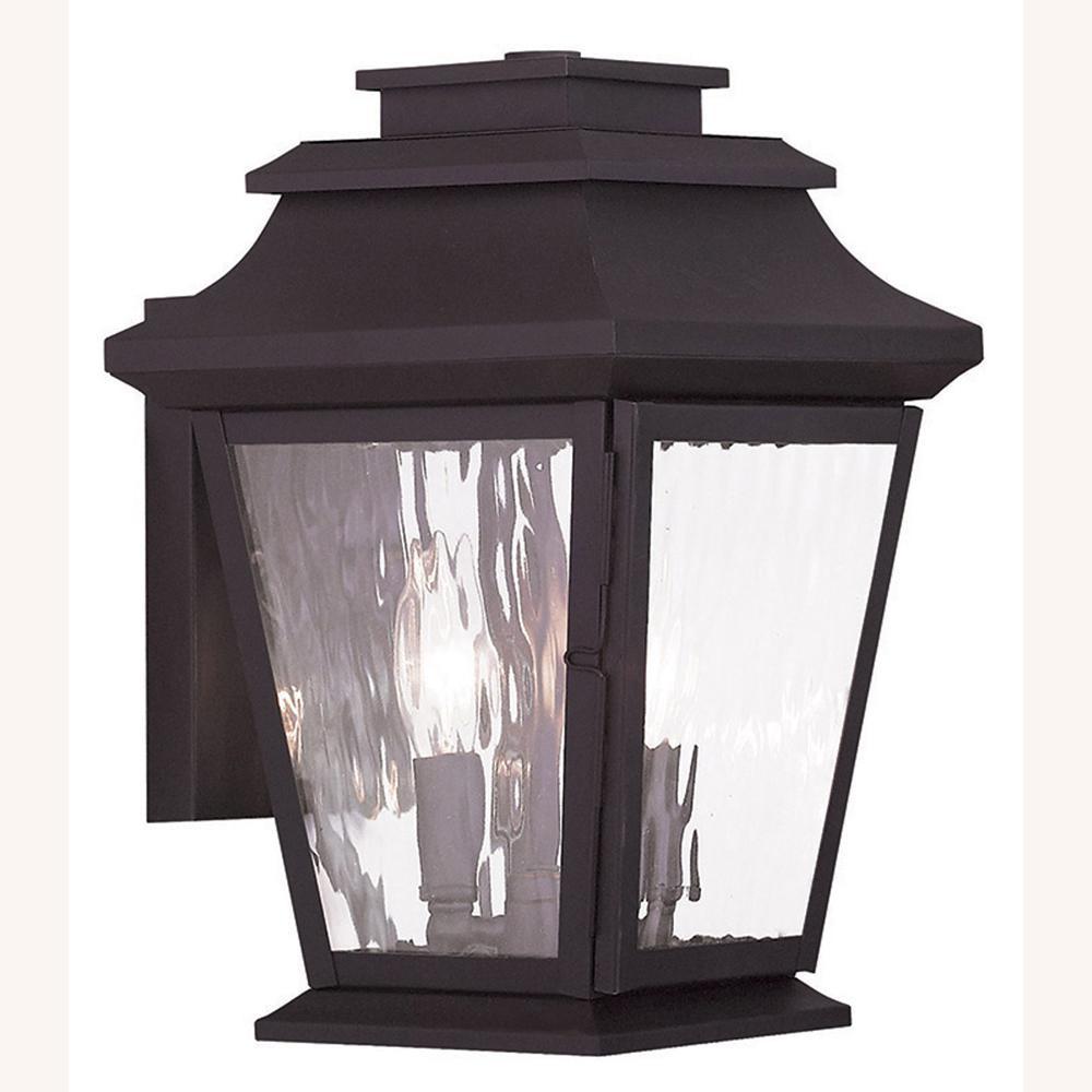 Hathaway 2-Light Bronze Outdoor Wall Lantern