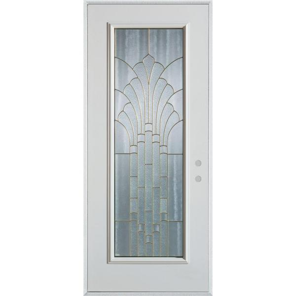 32 in. x 80 in. Art Deco Full Lite Painted White Left-Hand Inswing Steel Prehung Front Door